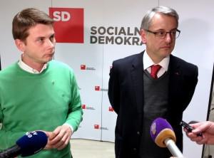Dejan Levanič in Matjaž Han v izjavi za medije