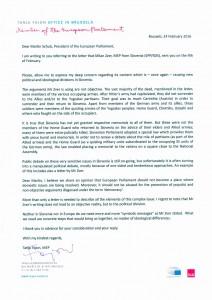Letter EP Tanja Fajon to President EU Parliament Martin Schulz